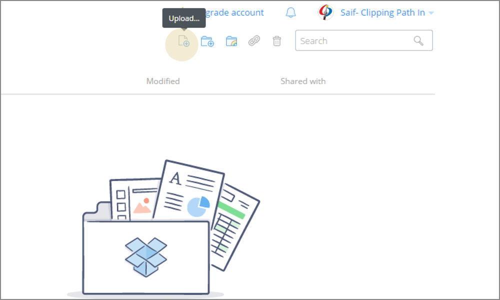 the image reference of dropbox upload button