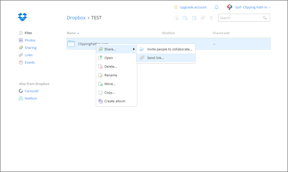 image that show how to share dropbox file